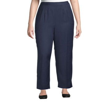 Alfred Dunner-Plus Short Womens Straight Flat Front Pant