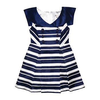 Tahari Toddler Girls Sleeveless Striped A-Line Dress