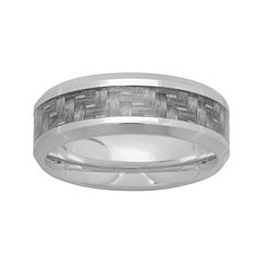 Mens 8mm Comfort Fit Stainless Steel Wedding Band