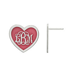 Personalized Sterling Silver 19mm Enamel Heart Monogram Earrings