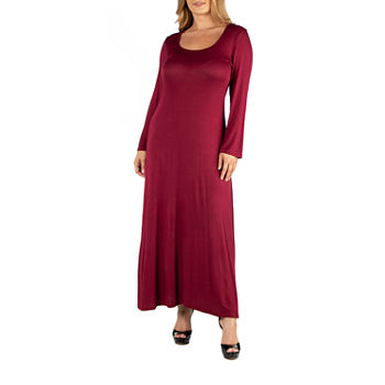 24/7 Comfort Apparel Long Sleeve T-Shirt Maxi Dress - Plus