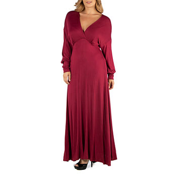 24/7 Comfort Apparel Formal Long Sleeve Maxi Dress - Plus