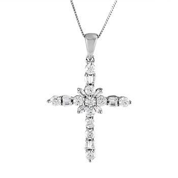98c873569b900b T.W. Genuine White Diamond 10K White Gold Cross Pendant Necklace