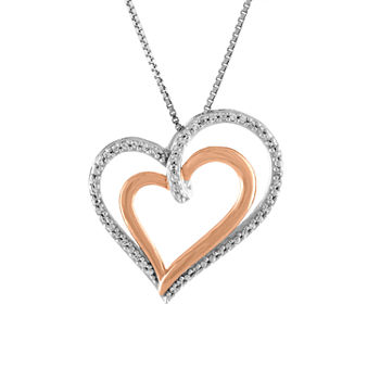 Necklaces pendants pearl gold statement necklaces for women tw white diamond sterling silver 14k rose gold over silver heart pendant necklace aloadofball Images