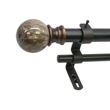 "Decapolitan Marble Ball 1"" Double Curtain Rod"