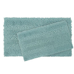 Laura Ashley Astor Striped Plush Chenille 20x34 2pc. Bath Mat Set