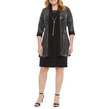 R & M Richards-Plus 3/4 Sleeve Jacket Dress with Necklace