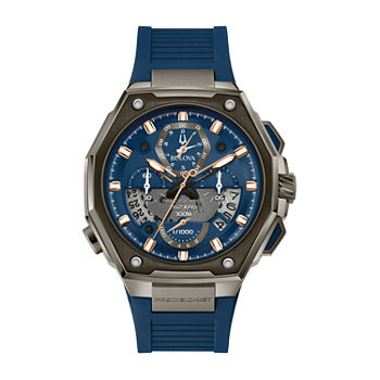 Bulova Precisionist Mens Blue Strap Watch-98b357