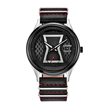 Citizen Black Widow Se Marvel Mens Black Leather Strap Watch-Bv1138-01w