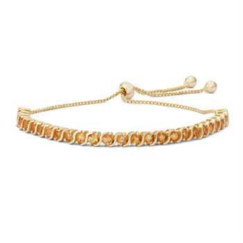 Genuine Yellow Citrine 14K Gold Over Silver Bolo Bracelet