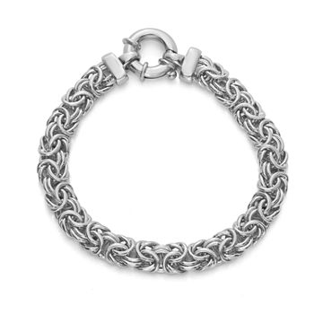 Made in Italy Sterling Silver 8 Inch Semisolid Byzantine Chain Bracelet