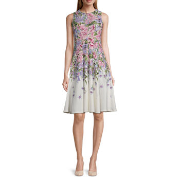 Danny & Nicole Sleeveless Floral Fit & Flare Dress with Coordinating Mask