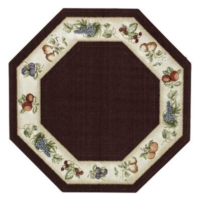 fresh fruit washable octagonal rug