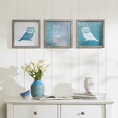 Intelligent Design Wise As An Owl Gel Coat 3-pc. Canvas Art