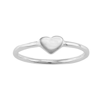 Itsy Bitsy Sterling Silver Polished Heart Pinky Ring