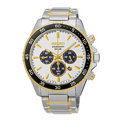 Seiko® Mens Two-Tone Chronograph Bracelet Watch SSC446