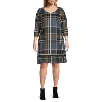 Chris Mclaughlin-Plus 3/4 Sleeve Plaid Shift Dress