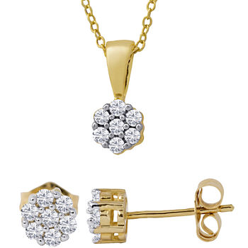 1/3 Ct. T.W. Diamond Cluster Necklace & Earrings Set