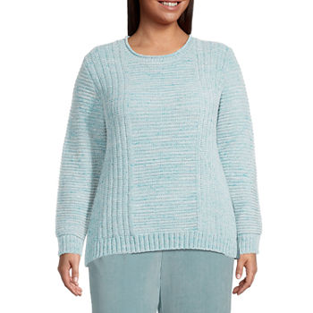 Alfred Dunner-Plus St Moritz Womens Crew Neck Long Sleeve Pullover Sweater
