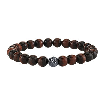 Red Tiger's Eye Sterling Silver Beaded Bracelet