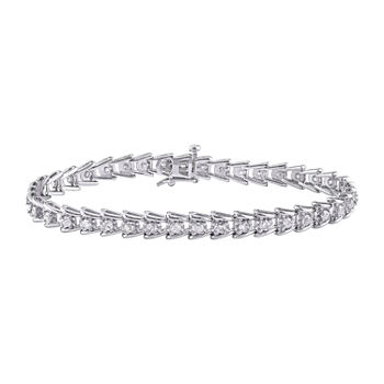 2 CT. T.W. Genuine White Diamond Sterling Silver 7 Inch Tennis Bracelet