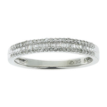 Womens 1/4 CT. T.W. Genuine White Diamond 10K White Gold Wedding Stackable Ring
