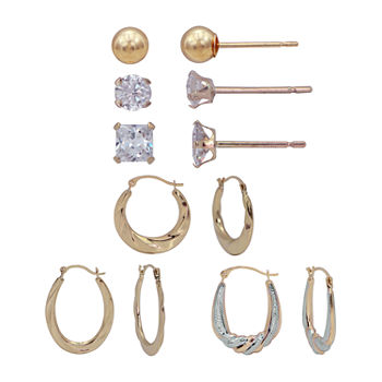 Women's Cubic Zirconia 14K Gold Earring Set