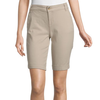 "Arizona Womens Mid Rise 9"" Bermuda Short-Juniors"