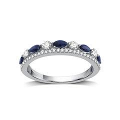 I Said Yes Womens 1/3 CT. T.W. Genuine Blue Sapphire Platinaire Band
