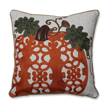 Pillow Perfect Fancy Embroidered Pumpkin 16x16 Square Throw