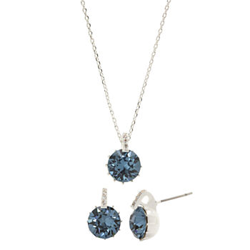 Sparkle Allure Pure Silver Over Brass Blue Crystal 3-pc.Jewelry Set Made With Swarovski Elements