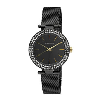 Laura Ashley Womens Black Strap Watch-La31075bk