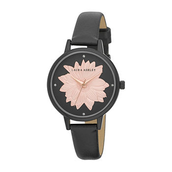 Laura Ashley Womens Black Strap Watch-La31097bk