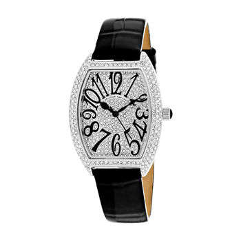 Christian Van Sant Womens Black Leather Strap Watch-Cv4821b