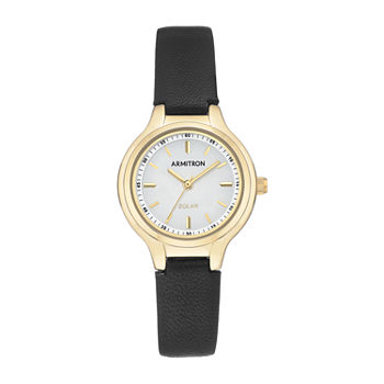 Armitron Womens Black Leather Strap Watch-75/5633wtgpbk