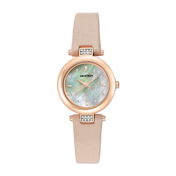 Armitron Womens Crystal Accent Pink Leather Strap Watch-75/5710mprgbh