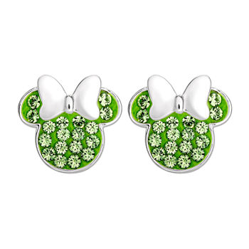 Disney Lab Created Green Crystal Sterling Silver 11.2mm Minnie Mouse Stud Earrings