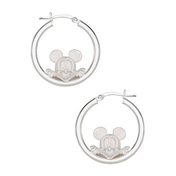 Disney Sterling Silver 27.5mm Minnie Mouse Hoop Earrings