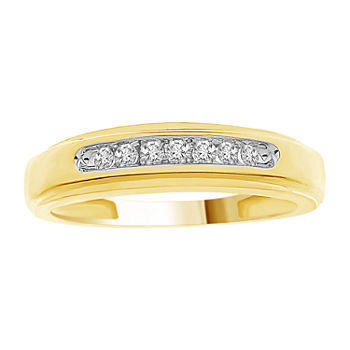 Mens 1/6 CT. T.W. Genuine White Diamond 10K Gold Wedding Fashion Ring