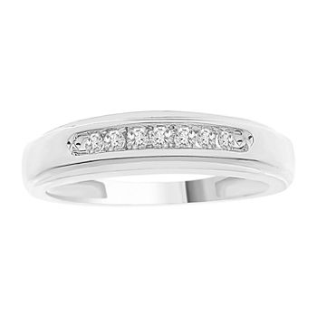 Mens 1/6 CT. T.W. Genuine White Diamond 10K White Gold Wedding Fashion Ring