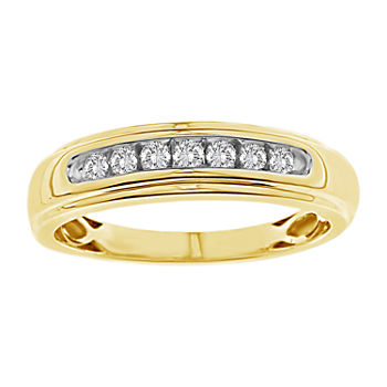 Mens 1/4 CT. T.W. Genuine White Diamond 10K Gold Wedding Fashion Ring