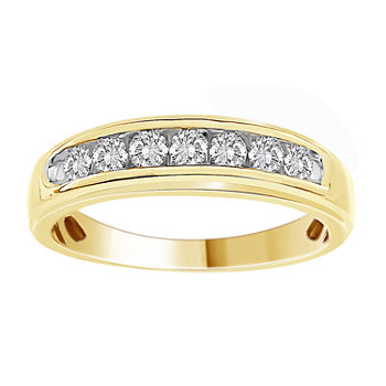 Mens 1/2 CT. T.W. Genuine White Diamond 10K Gold Wedding Fashion Ring