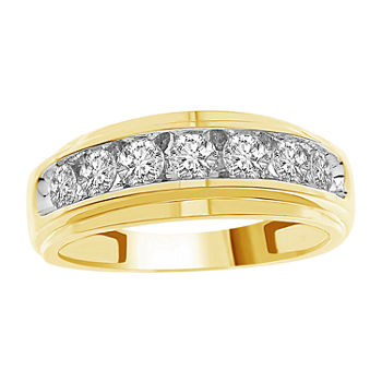 Mens 1 CT. T.W. Genuine White Diamond 10K Gold Wedding Fashion Ring