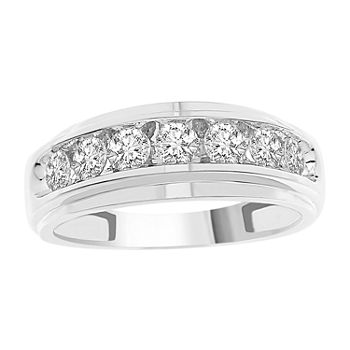 Mens 1 CT. T.W. Genuine White Diamond 10K White Gold Wedding Fashion Ring