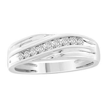 Mens 1/4 CT. T.W. Genuine White Diamond 10K White Gold Wedding Fashion Ring