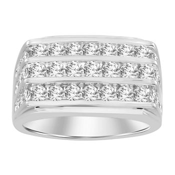 Mens 3 CT. T.W. Genuine White Diamond 10K White Gold Wedding Fashion Ring
