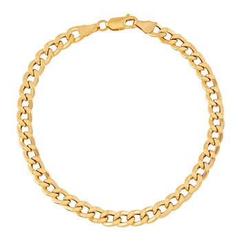 "Mens 10K Gold 8.5"" 6mm Semi-Solid Curb Bracelet"