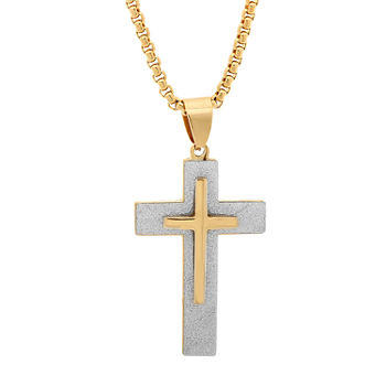 Steeltime Mens 18K Gold Over Stainless Steel Cross Pendant Necklace