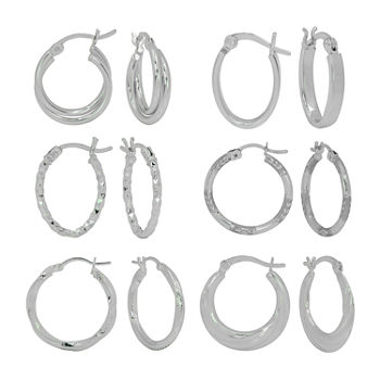 Sterling Silver 6 Pair Earring Set