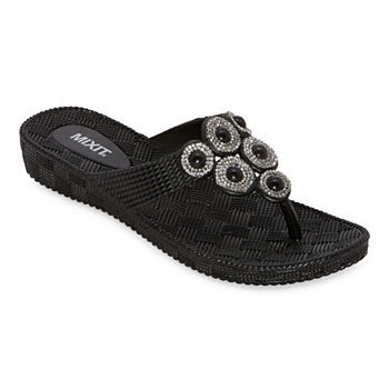 Mixit Womens Pearl Mold Shield Flip-Flops